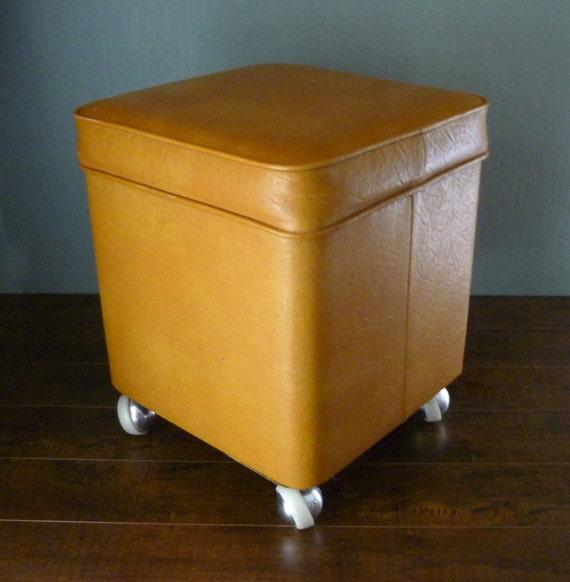 70s MidCentury Modern Mustard Yellow Storage Ottoman Hassock w Casters.  Flip Top Footstool w Wheels - 70s MidCentury Modern Mustard Yellow Storage Ottoman Hassock W