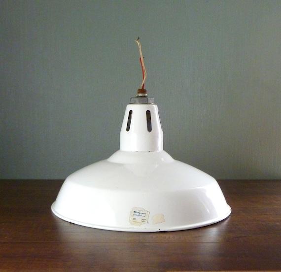 Hanging Garage Lights For Sale: Vtg White Benjamin Industrial Barn Light. Enameled Lamp Shade