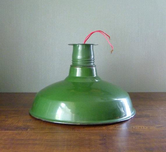 Vtg Green Benjamin Industrial Barn Light. Enameled Lamp Shade