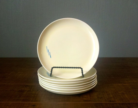 Vtg 1950s 7 x Piece Pale Yellow and Turquoise Blue FMW Monogram Salad Plate Set. MidCentury Modern Serving Platters by Cavitt Shaw. 140D.