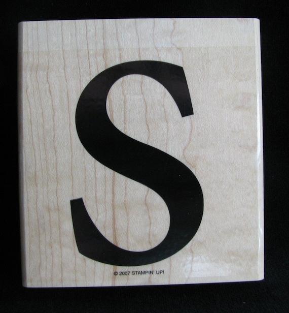 """Stampin Up Large Wood Mounted Stamp Monogram lower """"S"""""""