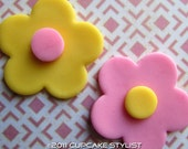 Edible Fondant Two-Color FLOWER Cake and Cupcake Toppers