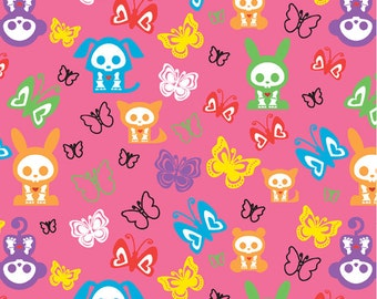 Skelanimals Butterflies and Characters in Pink/Multi by David Textiles (1 yard) (SALE, SALE, SALE)