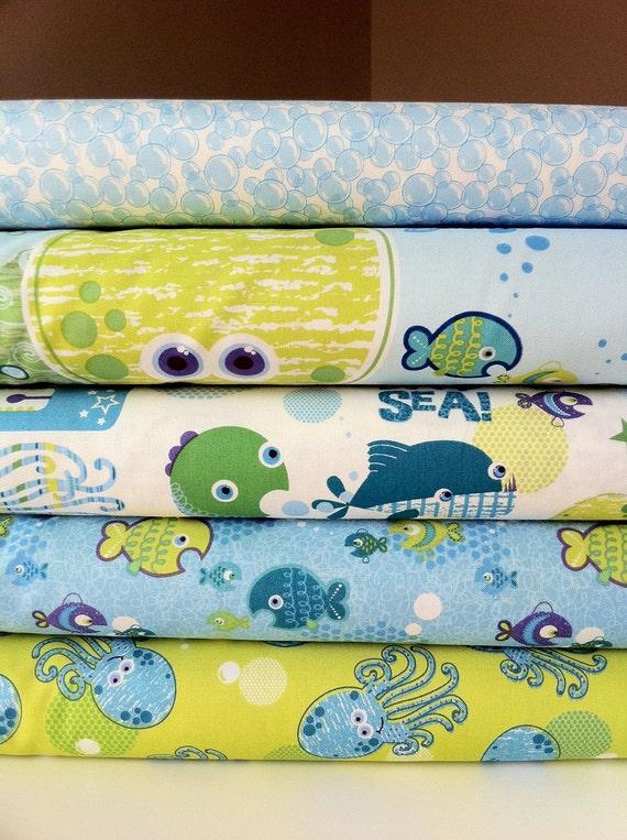 Deep Deep Sea Fabric assortment by Studio E Fabrics (5 Half yard bundle) (LAST ONE)