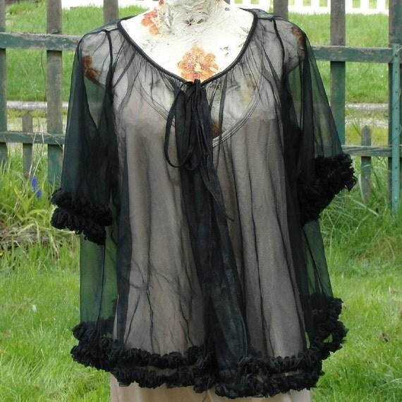 SALE Ooh La La Black Ruffled Nightie Jacket (free size)