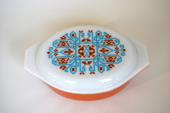 Vintage Pyrex Navajo Casserole and Lid