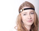 SALE Women Headband Gold Black Velvet