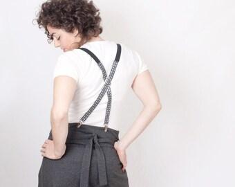 Suspenders Women Grey Gray Oriental Pattern
