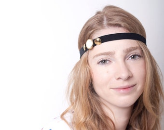 SALE Women Headband Gold Black Velvet