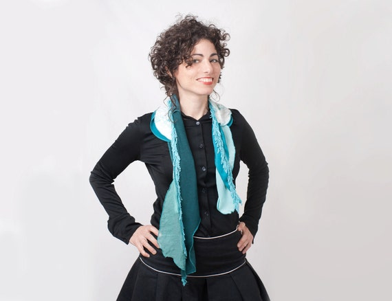 Woman Turquoise Scarf