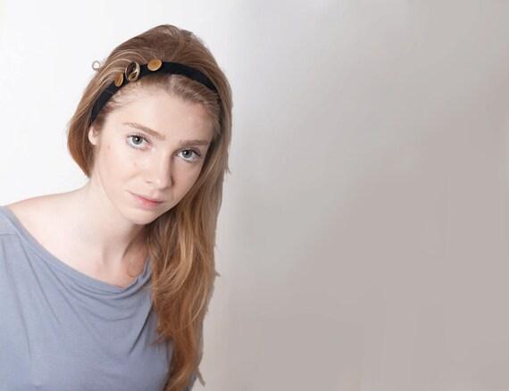 Headband Women Vintage Buttons Hairband OOAK