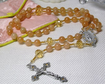 Catholic Rosary Red Aventurine and Glass-November Birthstone Rosary