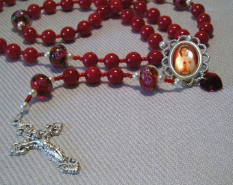 Catholic Rosary Red Malaysian Jade and Lampwork Glass