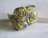 Yellow and Grey Rosette Cuff Bracelet Amy Butler Fabric