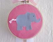 Elephant Hair Bow Hair Clip Accessory Holder Pink Embroidery Hoop