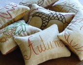 Autumn Decorative Pillows - Bowl Fillers - Tucks - Fall Leaves - Pumpkin - Acorns - Bittersweet Wreath - Indian Corn - Primitive - Plaid