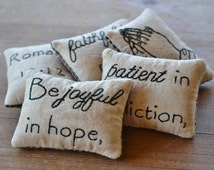 Christian Decorative Pillows - Primitive Bowl Fillers - Religious Tucks - Joyful in Hope - Faithful in Prayer - Romans 12 - Black Gingham