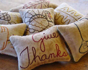 Thanksgiving Decorative Pillows - Give Thanks Bowl Fillers - Turkey - Pumpkin - Primitive Holiday Decor - Orange Plaid - Hand Embroidery