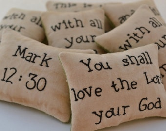 Christian Decorative Pillows - Religious Bowl Fillers - Scripture Tucks - Love the Lord Your God - Mark 12 - Primitive - Green Leaves