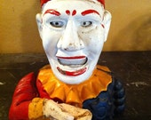 Cast Iron Coin-Eating Hand-painted Clown Bank