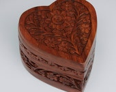 Hand Carved Rosewood Heart Shaped Box with Velvet Lining