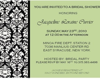 Damask Shower or Party Invitations
