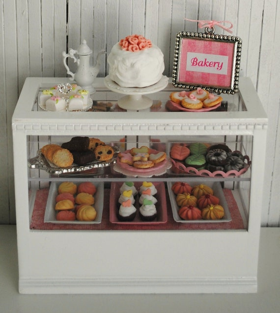 Miniature Bakery Case Filled With Sweets