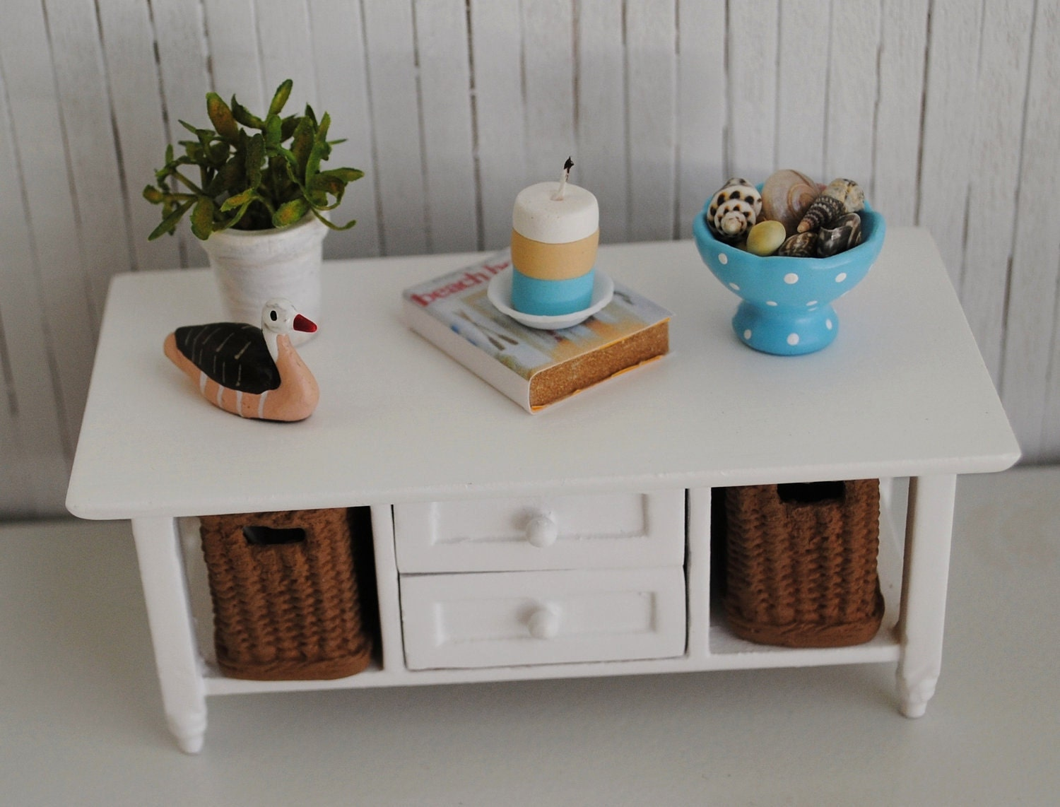Miniature Beach Style Coffee Table With Pull Out Baskets And