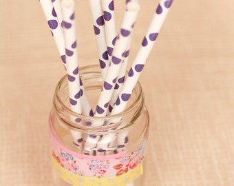 15 Cannucce a pois viola - 15 Purple Polka Dot Paper Straws
