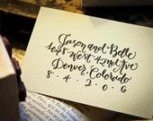 Custom Calligraphy Address Stamp -- All handwritten - The Entertainer style