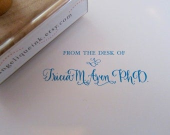 From the desk of - Custom Handwritten Calligraphy Stamp - Personalized Gift Self-inking Stamp or Wood stamp - Choice of style