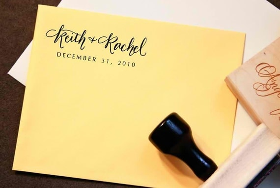 Custom Calligraphy Wedding Stamp -- Handwritten Names and Wedding Date - Elle Style