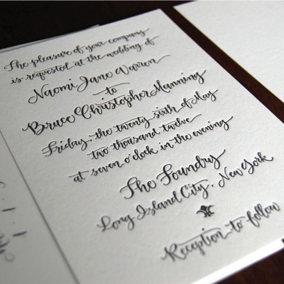 Handwritten Calligraphy Letterpress Invitation - or Digital Design for Print