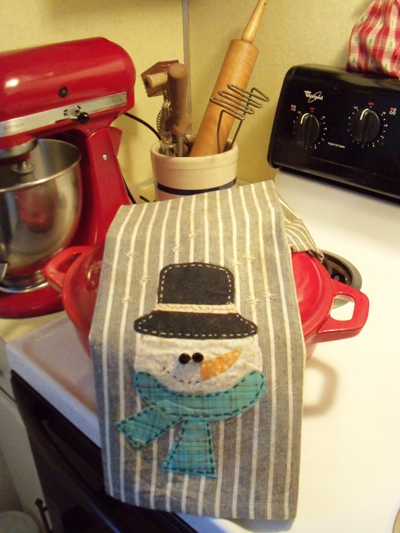 Primitive Snowman Dish Towel