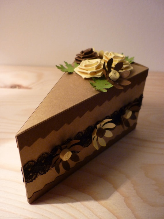 Quilled paper Cake Gift Box with roses