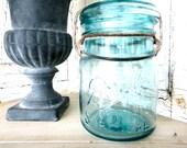 Vintage Teal BALL Sure Seal Glass Jar