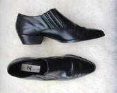 VTG black leather winklepicker biker ankle boots 6.5