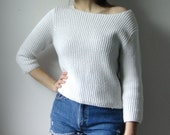 vintage white cropped knit sweater
