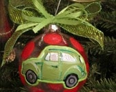 Volkswagon Beetle VW Bug Hand Painted Polkadot Ribbon Glass Ornament Size Medium