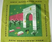 Vintage Modernist Tammis Keefe Washington Square Park New York City Hankie
