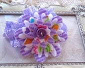 Childrens Felt and Fabric Flower Stretch Headband -  Hair Embellishments - Baby Couture