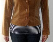Vintage Tan Brown Velvet Fitted Blazer Jacket