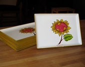 Set of 10 Small Lacquer Serving Trays with Sunflowers Made In Japan 1960's