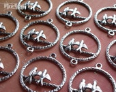 10X - antiqued silver love bird hoop connector pendant finding