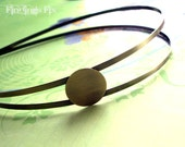 antiqued bronze double band headband with asymmetrical blank 20mm tray - 2 pcs