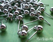 10X - platinum color 5mm ball end 1 loop post earring findings
