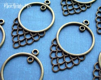 10X - antiqued bronze chandelier earring component