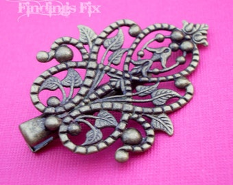 6X - antiqued bronze filigree vines and leaves hair clip
