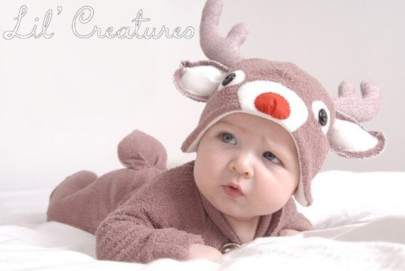 READY TO SEND: Size 0-3m Christmas Rudolf Reindeer Baby Onesie Costume with Hat