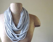 Upcycled Skinny Scarf - Lightweight Jersey Cotton Infinity Scarf - Heather Gray - Eco Friendly